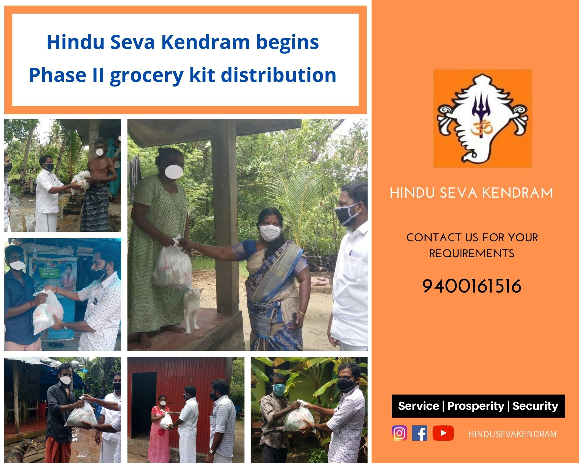 Hindu Seva Kendram begins Phase II grocery kit distribution