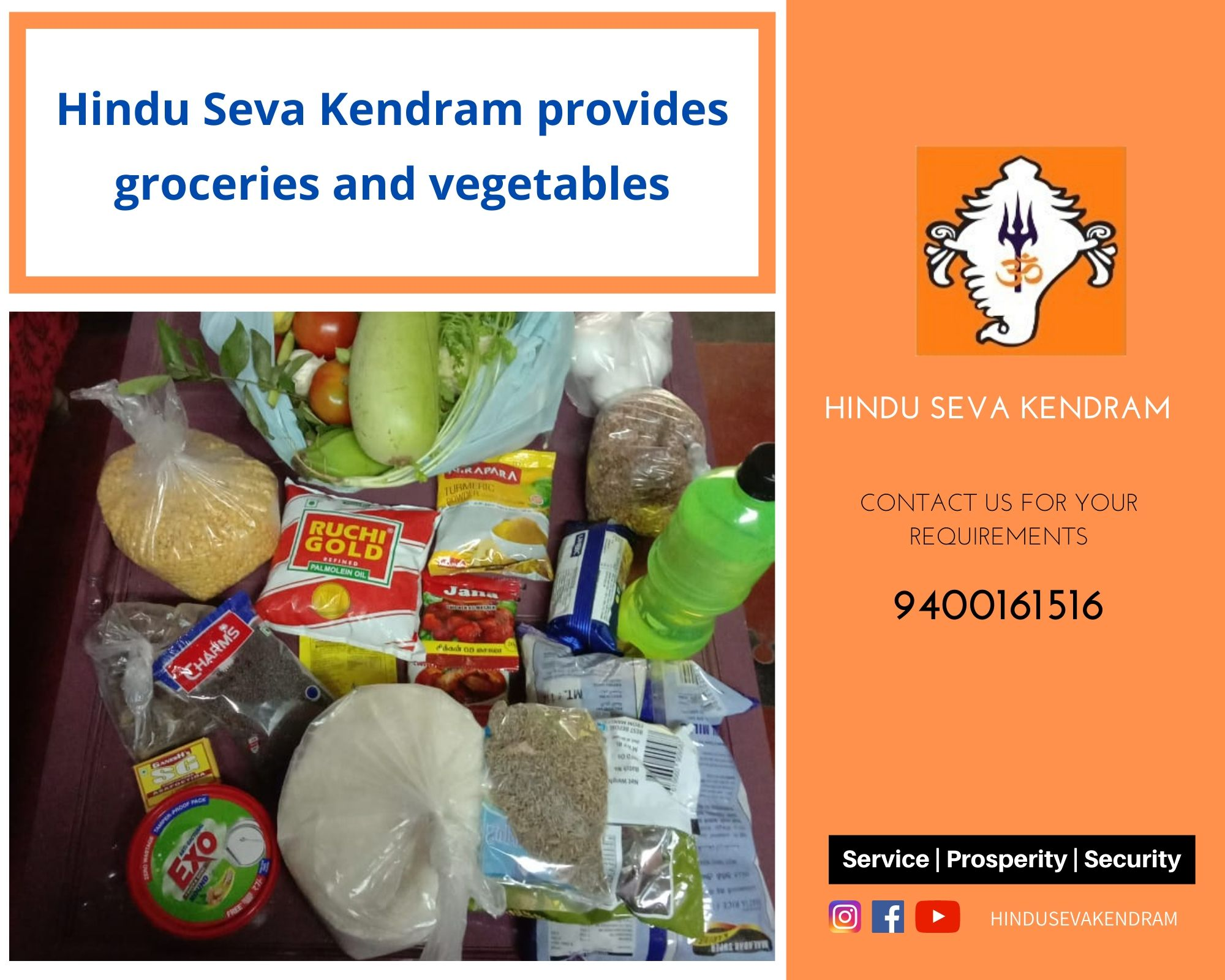 Hindu Seva Kendram provides groceries and vegetables