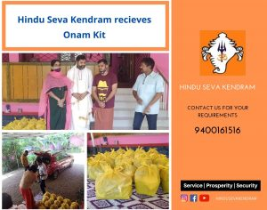 Hindu Seva Kendram receives Onam Kit for 25 needy families