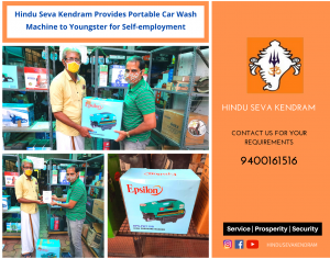 Hindu Seva Kendram Provides Portable Car Wash Machine to Youngster for Self-employment