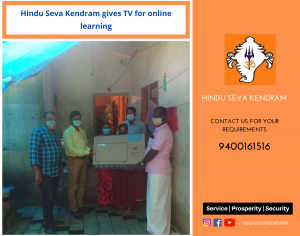 Hindu Seva Kendram gives TV for online learning