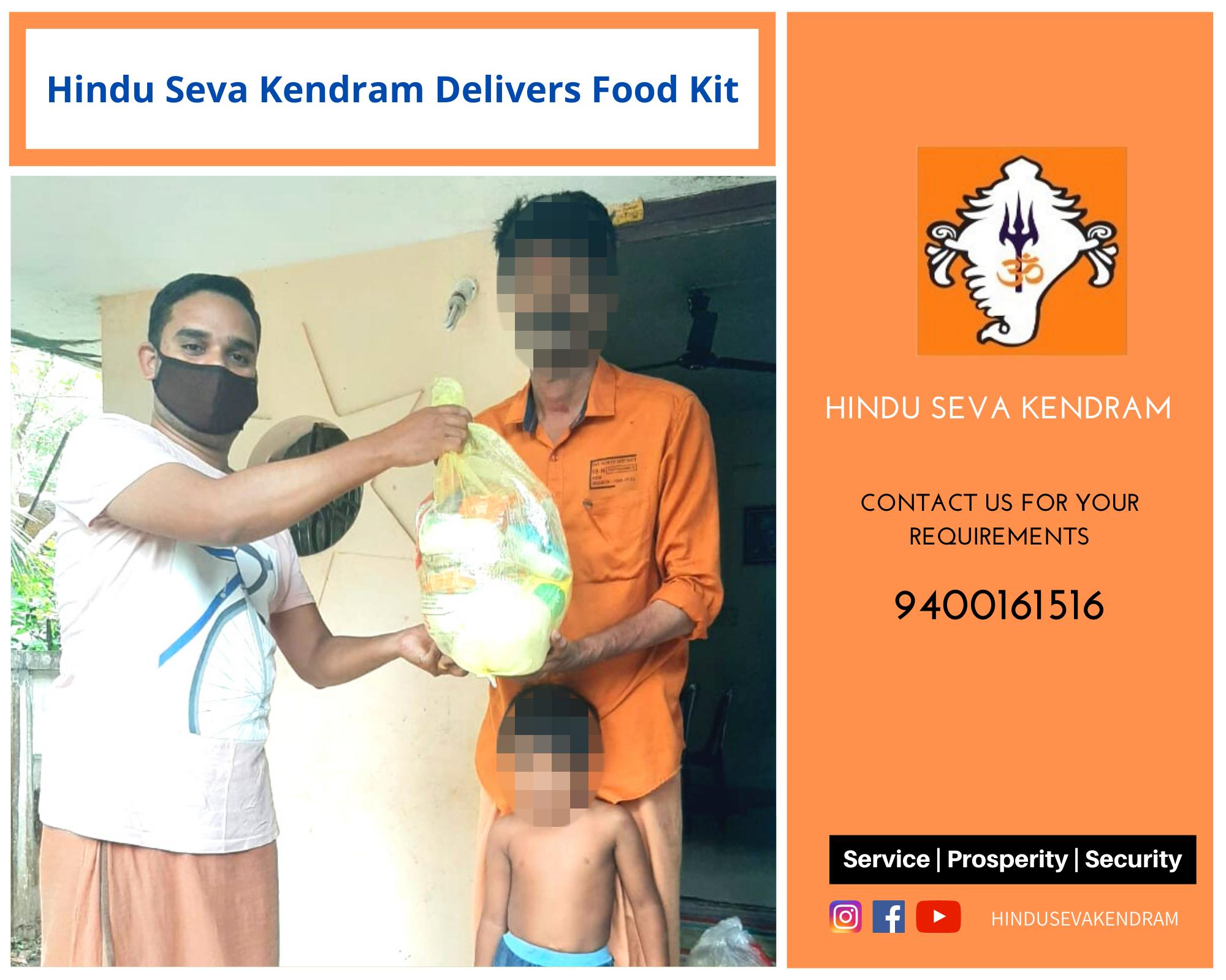 Hindu Seva Kendram Delivers Food Kit